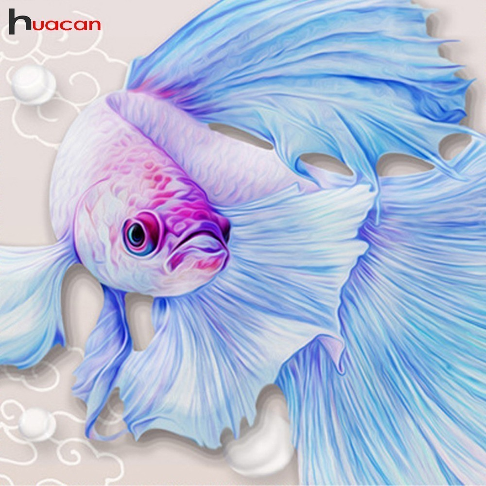 HUACAN 5D DIY Diamond Painting Fish Diamond Mosaic Picture Of Rhinestones Diamond Embroidery Cross Stitch Cartoon Home DecorHUACAN 5D DIY Diamond Painting Fish Diamond Mosaic Picture Of Rhinestones Diamond Embroidery Cross Stitch Cartoon Home Decor