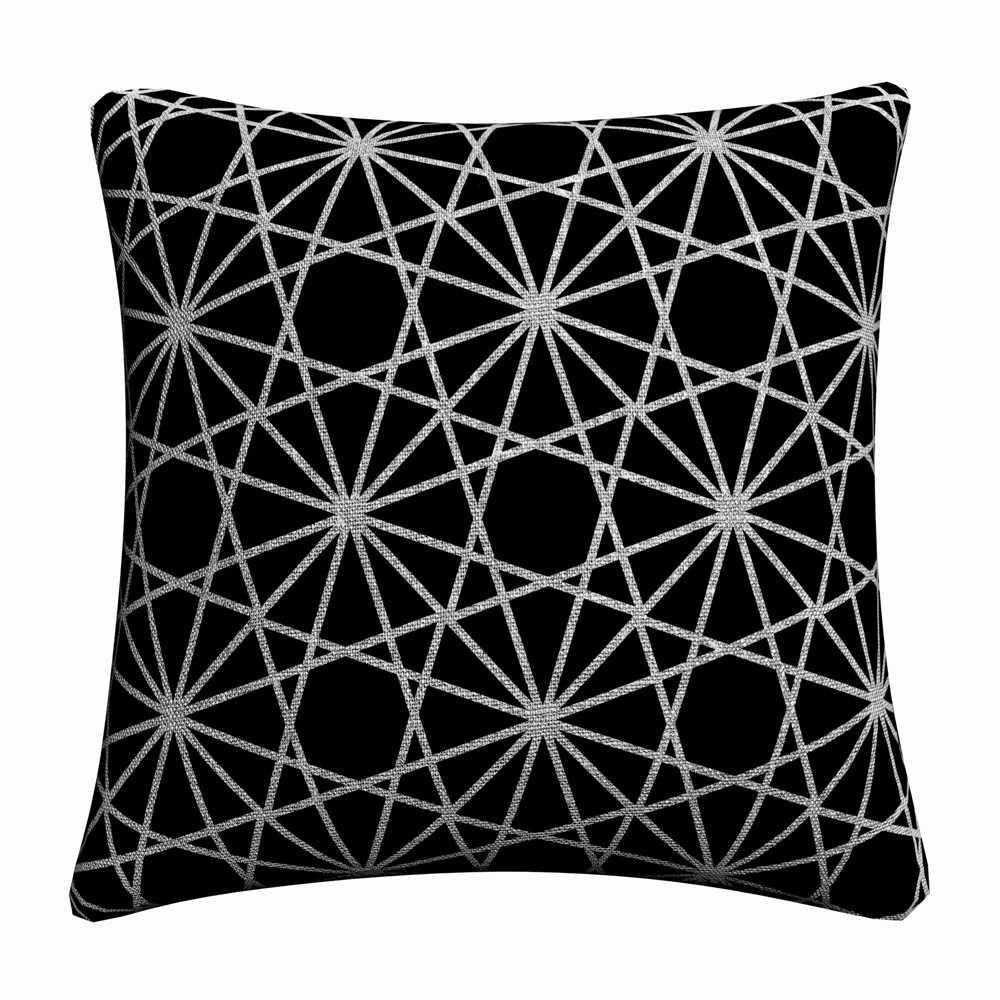 สีดำและสีขาว Nordic Germetric หมอนตกแต่งครอบคลุมสำหรับโซฟาหน้าแรกตกแต่งผ้าลินินปลอกหมอน 45x45 เซนติเมตรโยนหมอนกรณี