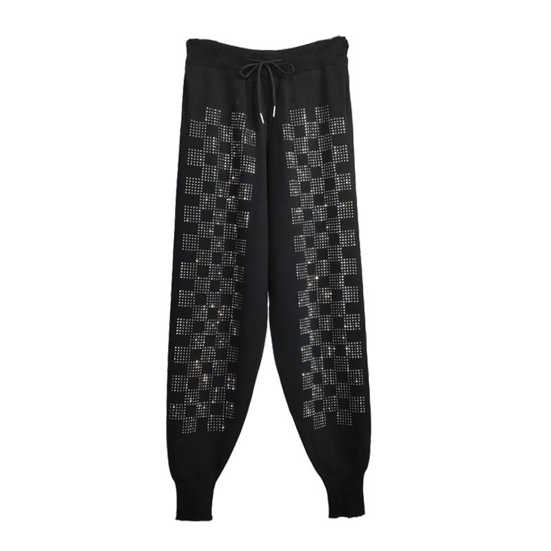 Diamond Checkerboard Pattern Black Jogger Pants Women 2019 England Style High Waist Harem Pants Spring Casual Sweatpants