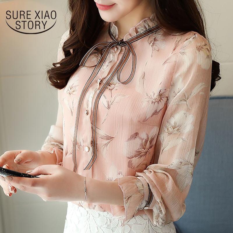 Fashion 2019 Autumn women tops long sleeve print chiffon women   blouse     shirt   casual OL   blouse   ladies tops blusa feminina 0871 30
