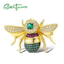 SANTUZZA الفضة بروش للنساء أصيلة 100% 925 فضة الذهب اللون جميل النحل الحشرات بروش العصرية مجوهرات الأزياء