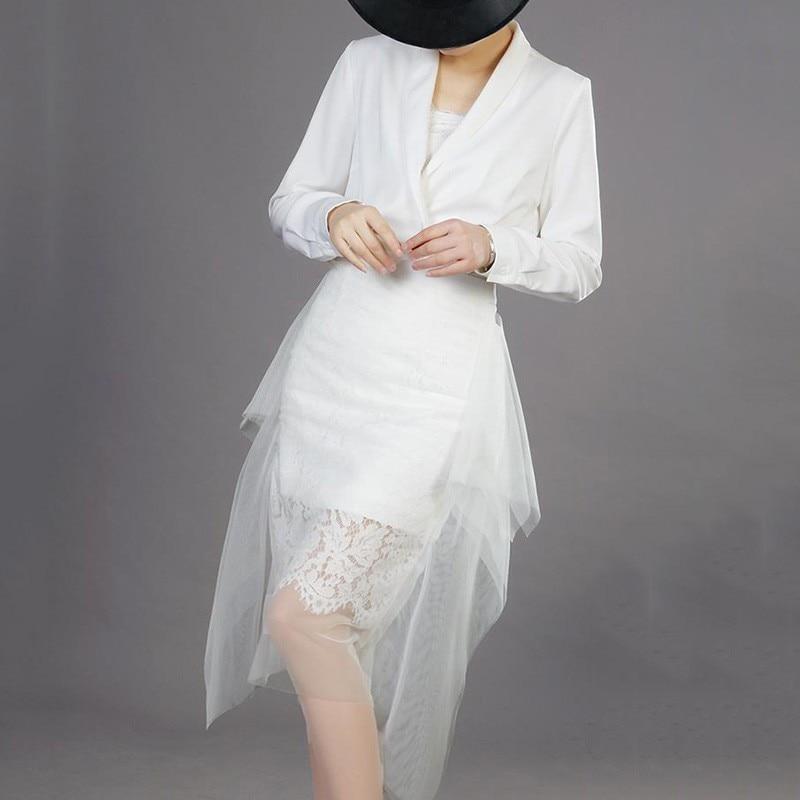 Longues White Cou À Dentelle Asymétrique Pour Printemps Taille 2019 Pièces Femmes Ensembles Jupe V Chemises Manches Deux Twotwinstyle Haute Maille black Élégant zRwq0HP