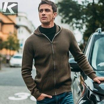 Осень для мужчин свитер хлопок молния патч дизайн черный кардиган для повседневное Slim Fit Одежда Новый мужской трикотаж пальто 11800