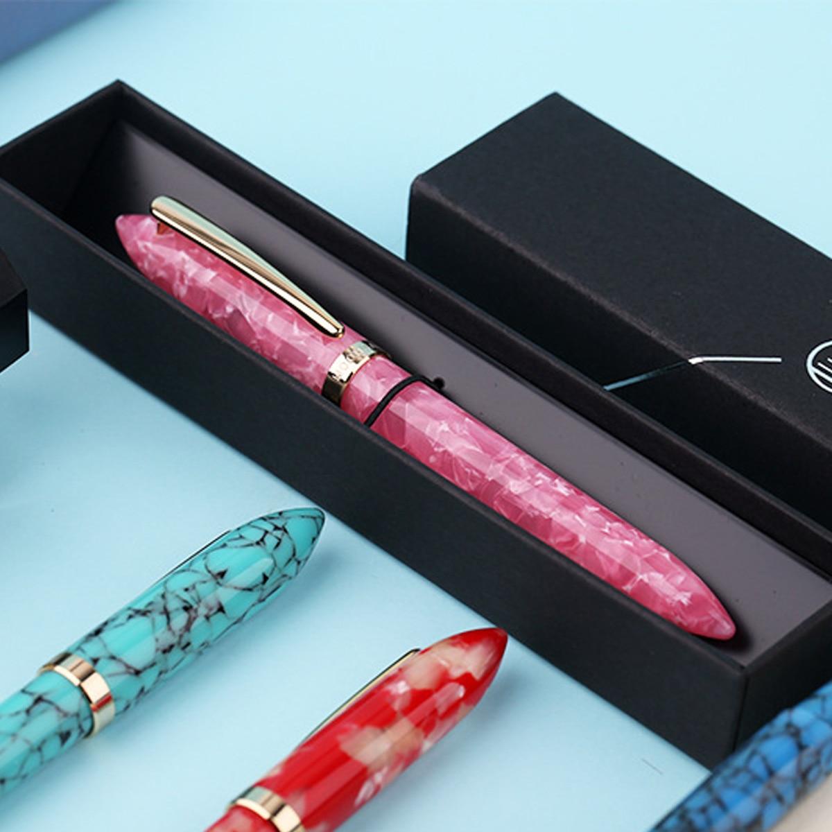 KICUTE negocio Metal pluma S1 resina colorida pluma convertidor pluma EF/F Nib único con caja de regalo
