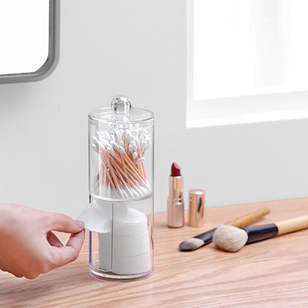 Acrylic Multifunctional Round Makeup <font><b>Organizers</b></font> Transparent Cotton Swabs Stick Storage Box Organizer Plastic Cosmetic <font><b>Organizers</b></font> image
