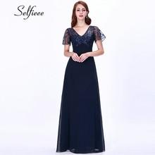 2019 New Fashion Elegant Dress Women A Line V Neck Short Sleeve Long Chiffon Beach Dress Formal Party Gowns Vestidos De Fiesta