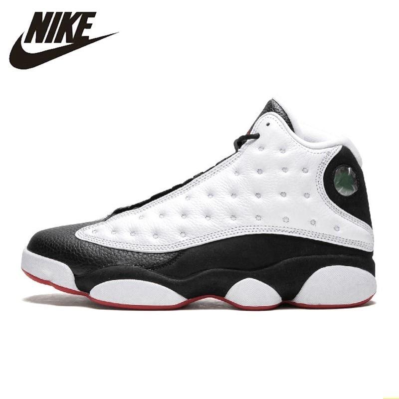 Nike Air Jordan 13 Aj13 nouveauté hommes basket-ball chaussures noir et blanc Panda mouvement gravé confortable baskets #414571-104