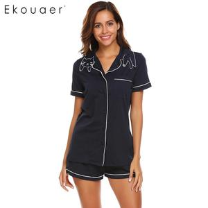 Image 3 - Ekouaer Women High Quality Pajamas Sets Nighties Turn down Collar Short Sleeve Elastic Waist Pocket Shorts Soft Pajama Set
