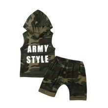 64e30ec79 Verano bebé niños niño de Camo del ejército sudaderas con capucha camiseta  Tops pantalones cortos pantalones traje conjunto de r.