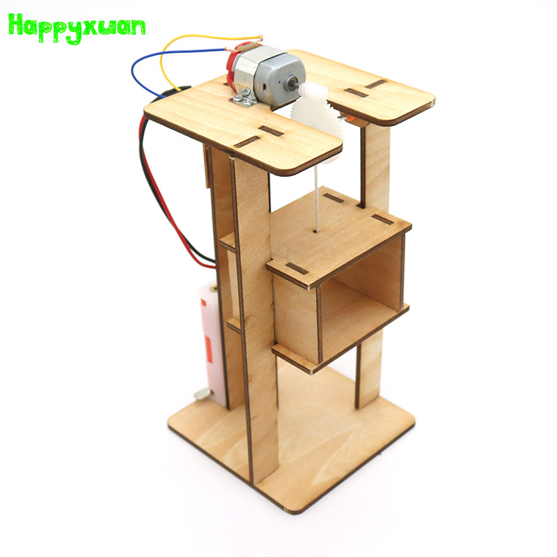 Happyxuan DIY Electric Elevator Kids Science Toys Experiment Kits Boy Toy Creative STEM Education Innovation School Project