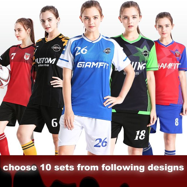 10 Sets Lot Women Soccer Jerseys 2018 Breathable College Football Jersey  Camisetas De Futbol Uniforms Custom Tracksuit Wholesale bd96a49e67
