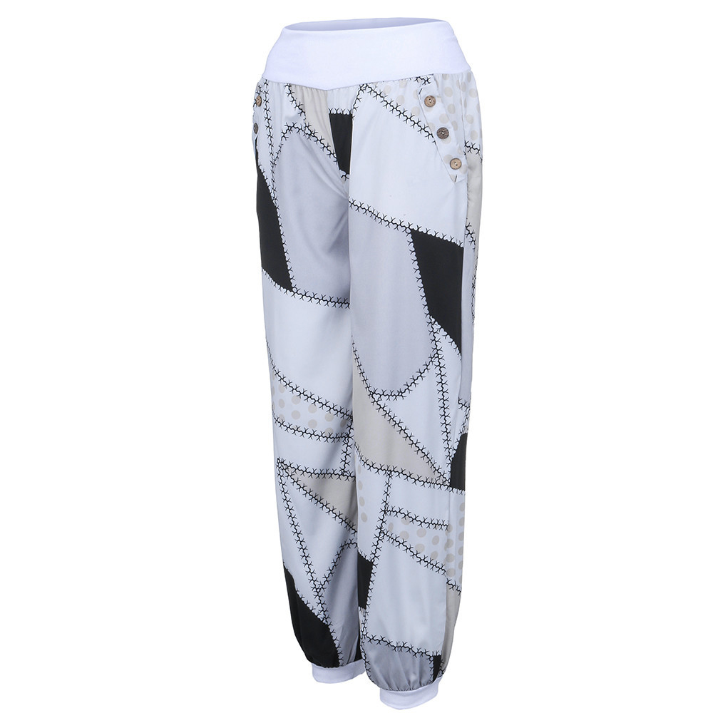 New Women Casual Print Patchwork Pants Wide Leg Pants Loose Pocket Button Harem Pants Autumn Fashion High Waist Boho Elastic W