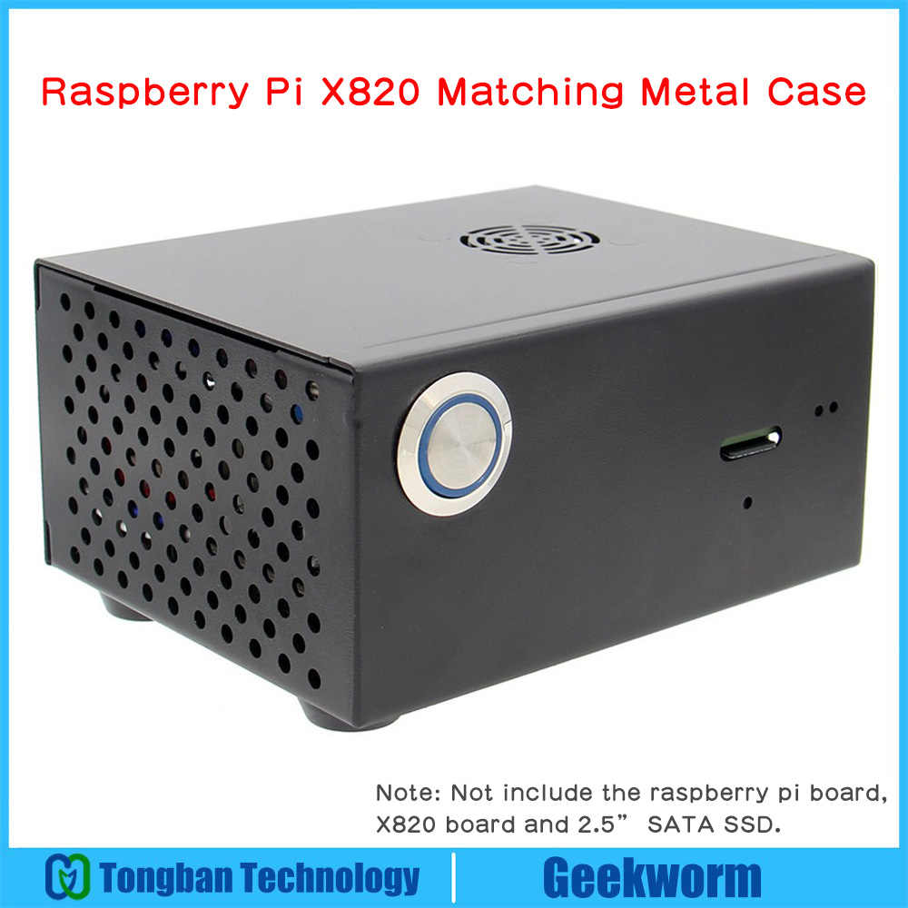 Raspberry Pi X820 V3.0 SSD&HDD SATA Storage Board Matching Metal Case / Enclosure + Power Control Switch + Cooling Fan Kit