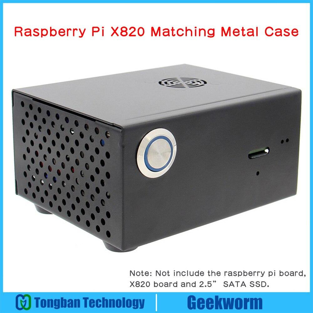 Raspberry Pi X820 V3.0 SSD и HDD SATA плата для хранения, соответствующий металлический чехол/корпус + выключатель питания + вентилятор охлаждения