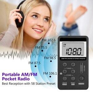 Image 5 - Radio de bolsillo portátil AM FM, Mini estéreo Digital Tuning con batería recargable y auricular para caminar/trotar/gimnasio/Camping