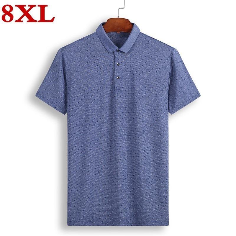 2019 New high quality plus size 8XL 7XL 6XL Brand   Polo   Shirt For Men Cotton Short Sleeve Shirt Jerseys big size