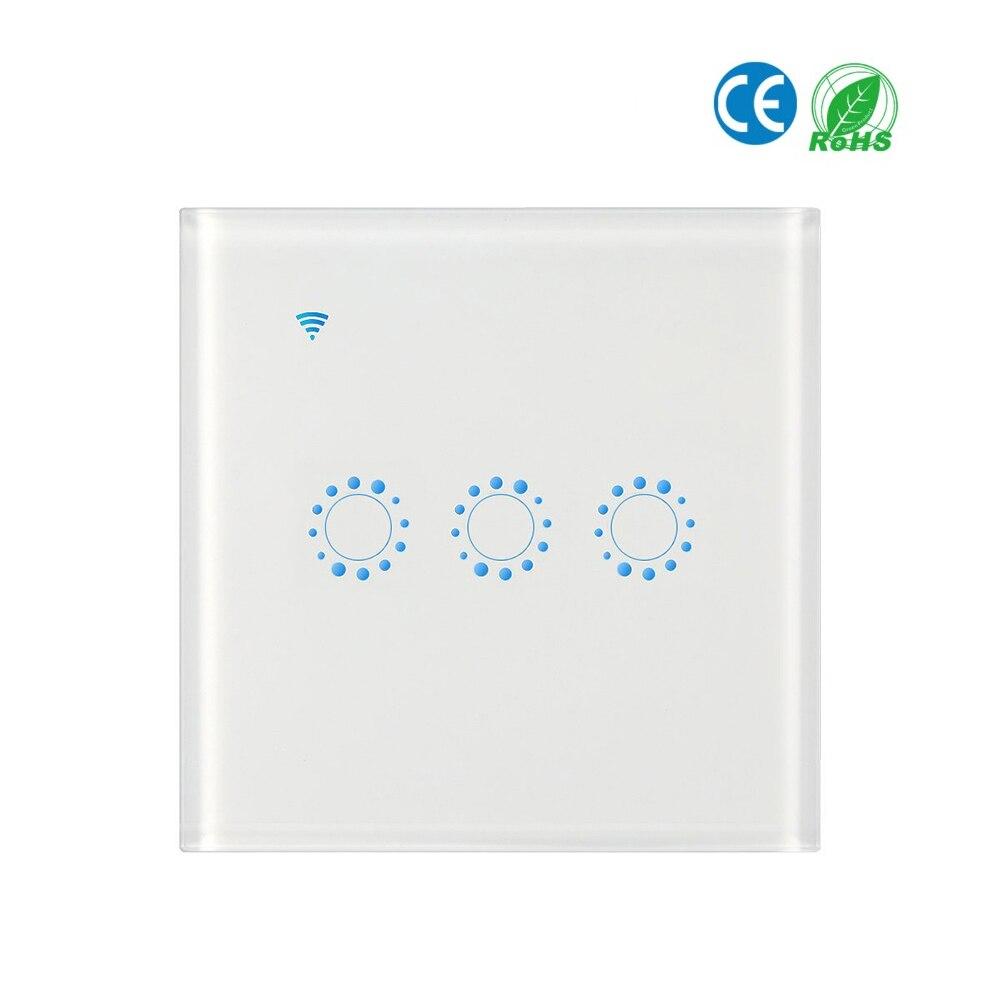 APP Fernbedienung Touch Schalter EU/UK standard Schwarz/Weiß Kristall Glas Panel Touch Schalter, AC90V-250V Wand Touchscreen Schalter