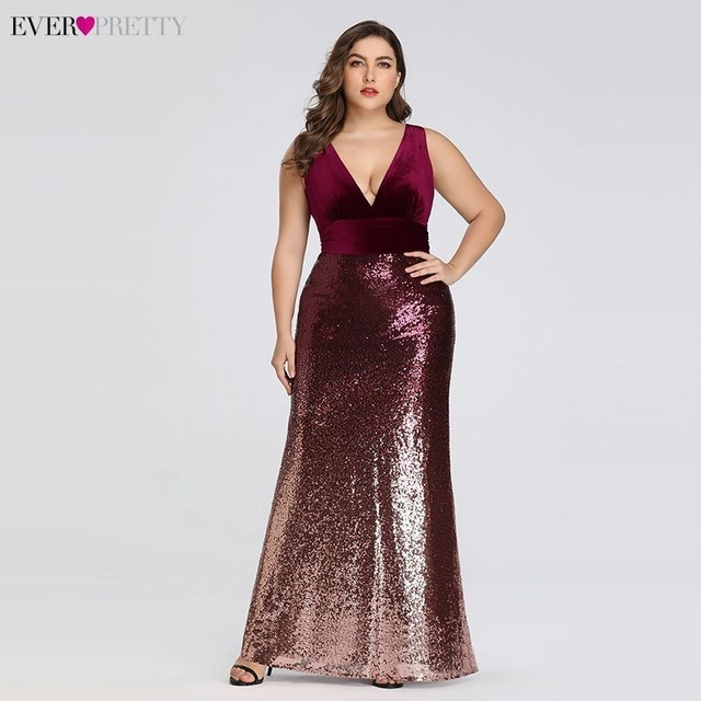 Plus Size Evening Dresses Long Ever Pretty Sexy V-Neck Sleeveless Sequined Burgundy Blush Pink Vintage Mermaid Party Gowns 1