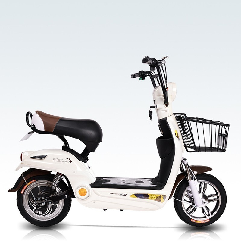 Electric Vehicle Adult Two Round Electric Power Bicycle Mini A Storage Battery Car New Pattern Electric Bicycle Mocha|Electric Bicycle| |  - title=