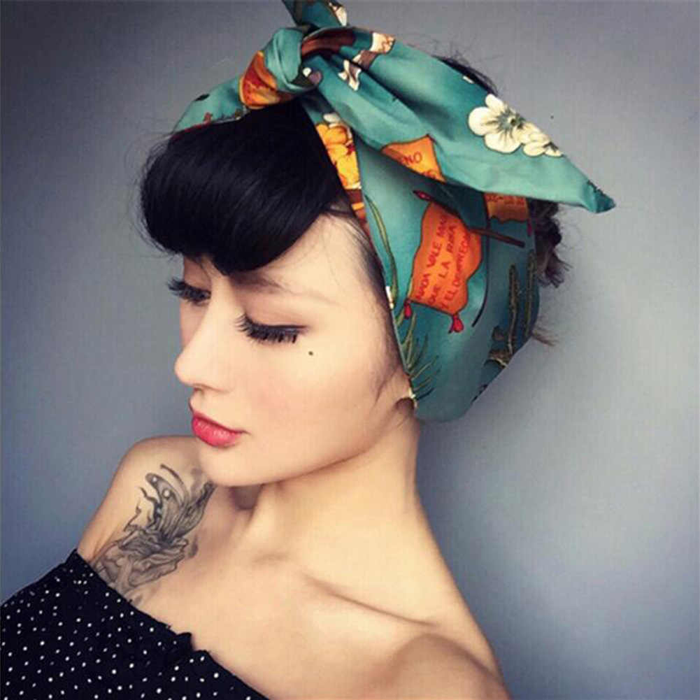Vintage Printed Rabbit Ear Bow Wire Wide Headbands Women Stretch Hair Bands Turban Floral Headwrap for Hair Accessories Headwear