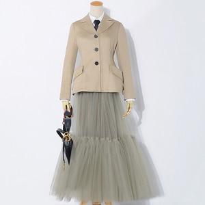 Image 3 - [[EAM] 2020 Mới Mùa Xuân Hè Cao Co Giãn Xanh Chia Phần Lớn Lưới Đường Kẻ Nửa Váy thời Trang Nữ Triều JS221