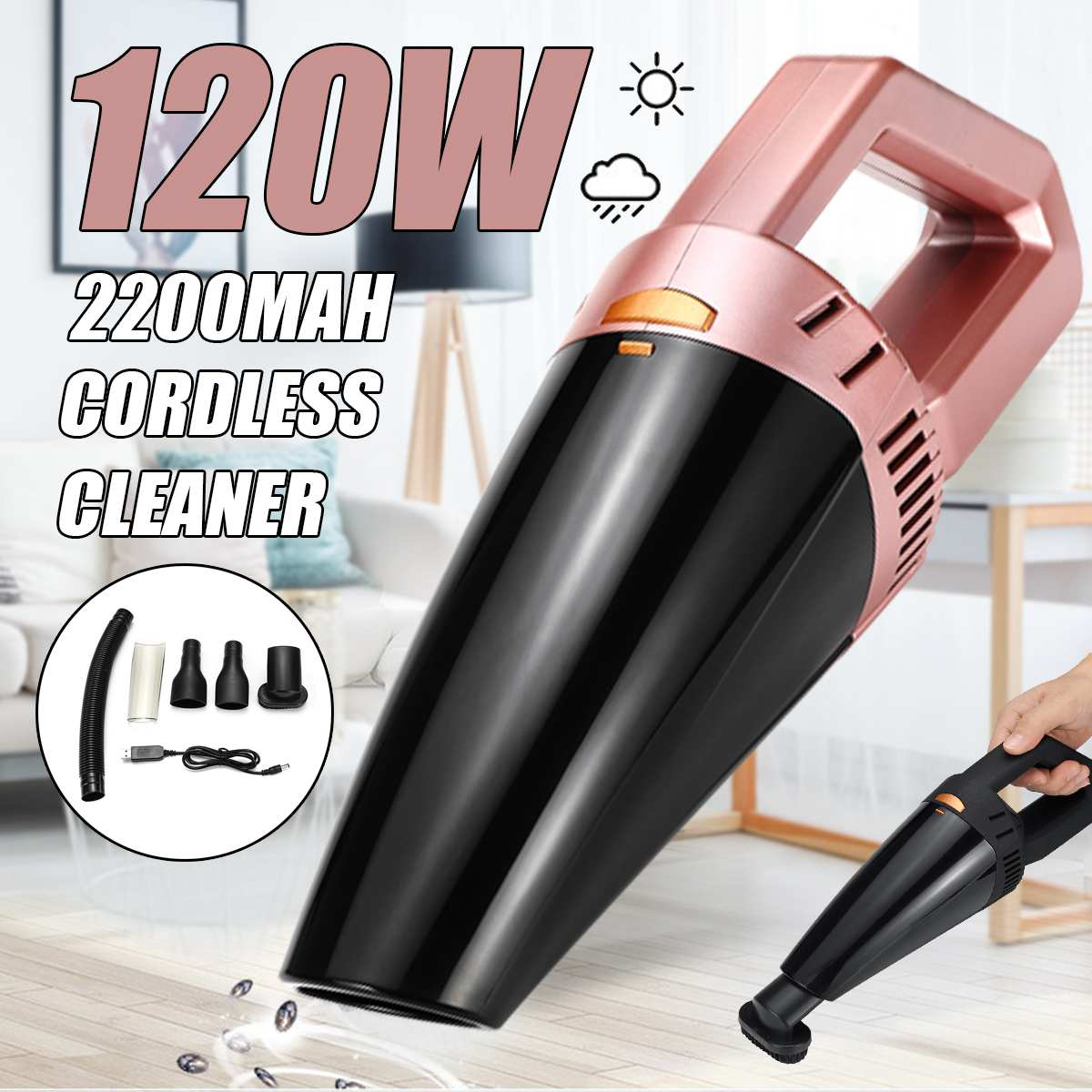 12V 120W Cordless Wireless Handheld Vacuum Cleaner Wet Dry USB Rechargeable Mini Portable Dust Collector For Home Car Cleaning