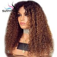 Sunnycan вьющиеся человеческие волосы парик с детскими волосами предварительно сорвал кружева передние человеческие волосы парики Remy бразиль