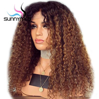 Sunnymay 13x4 Curly Human Hair Wig With Baby Hair Pre Plucked Lace Front Wigs Remy Brazilian Wigs Glueless Brown Ombre Wig