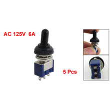 5 Pcs AC 125V 6A ON/OFF/ON 3 Position SPDT 3 Pins Toggle Switch with Waterproof Boot