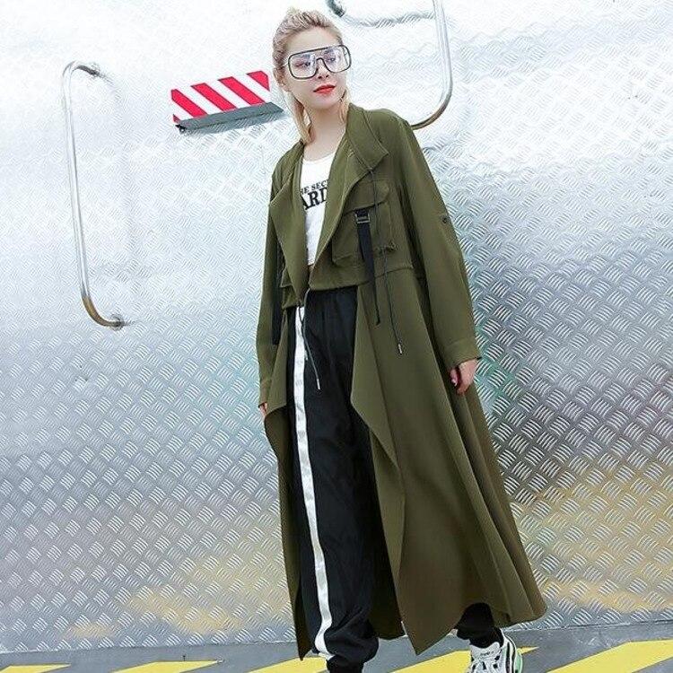 #0762 Spring Autumn Double Pockets Thin Windbreaker Women Plus Size Loose Black Green Long Cardigan Irregular Coat For Women
