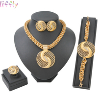 Gold Jewelry Sets Fashion Hot Sale Pendant Necklace Earring Ring Dubai Jewelry Sets for Women Bride Wedding Accessories