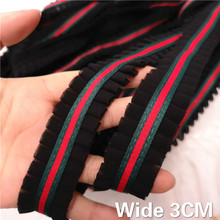 3CM Wide Black Pleated Chiffon Lace Embroidered Folded Edge Trim Ribbon Dress Collar Applique Decor DIY Sewing Accessories