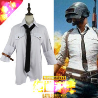 Hot Game 98K Rifle Playerunknown Battle Fields Cosplay Costumes White shirt and belt and black tie Third class combat clothing