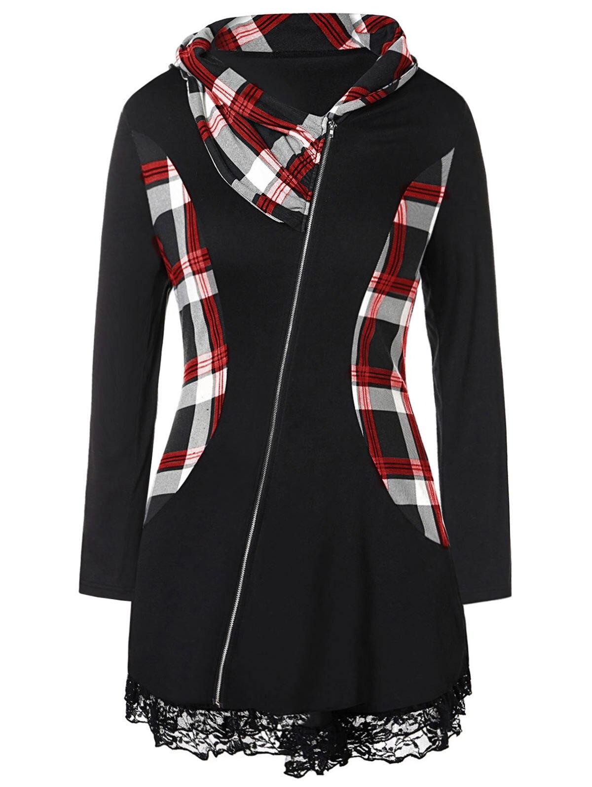 Wipalo Plus Size Lace Insert Plaid Zip Fly Coat Women Jacket Casual Slim Long Sleeves Irregular Coats 2019 Outwear Ladies Tops