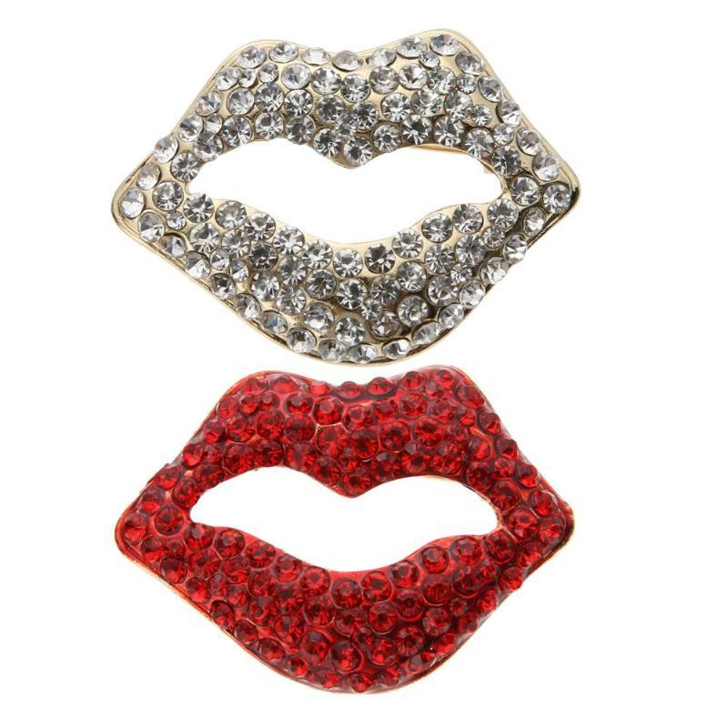 Sexy Crystal Rhinestone Red White Lips and Lipstick Brooch Pin Women/Lady/Girls Garment Fashion Jewelry