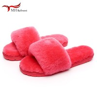 Fur slippers 2019 wool slippers men and women couple models slippers autumn and winter sheep fur one slippers one word drag T#13