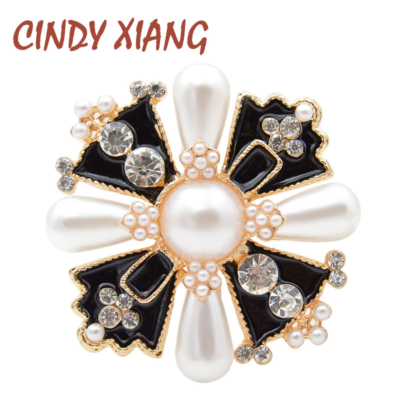 CINDY XIANG Rhinestone and Pearl Cross Brooches for Women Fashion Baroque Style Jewelry Winter Coat Accessories Corsage Broches|Brooches| - AliExpress