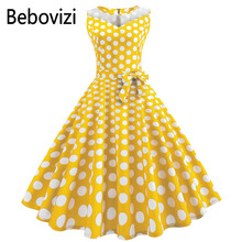 Bebovizi New 2018 Yellow Wave Point Womens Dress Mesh Stitching Summer Sleeveless Party Elegant Audrey Hepburn Midi Dresses