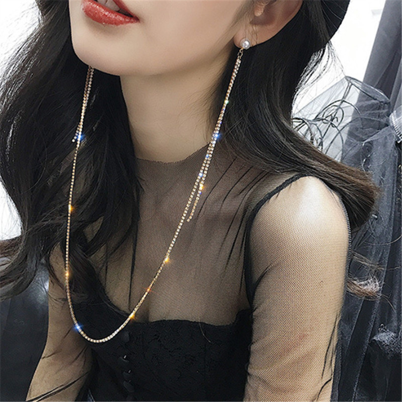 FYUAN Korean Style Long Tassel Rhinestone Earrings for Women Bijoux Exquisite Pearl Gold Silver Color Chains Earrings Jewelry