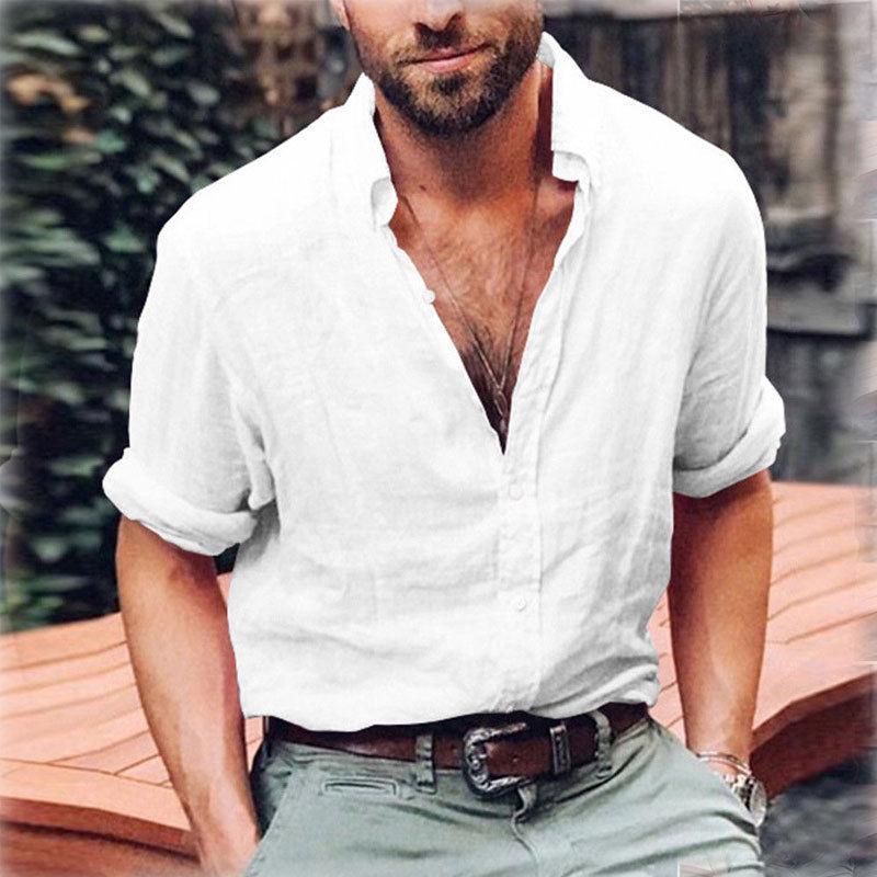 2018 Summer Men S Linen Shirt Men Long Sleeve Loose Smart