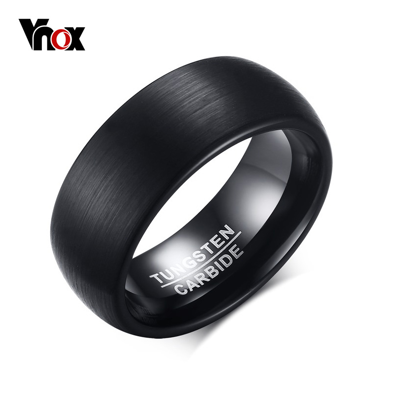 Vnox 8mm Tungsten Carbide Wedding Band Ring for Men Black Color Not Ccratch