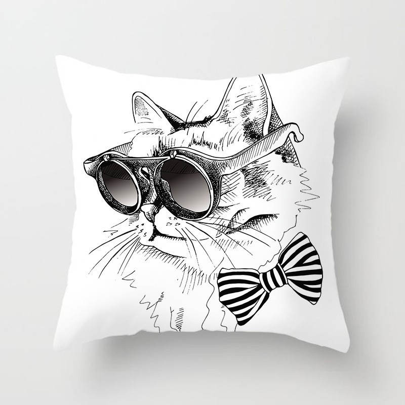 1Pc Cute Cat Dog Animal Pattern Polyester Throw Pillow Cushion Cover Car Home Decor Decoration Sofa Decorative Pillowcase 40599