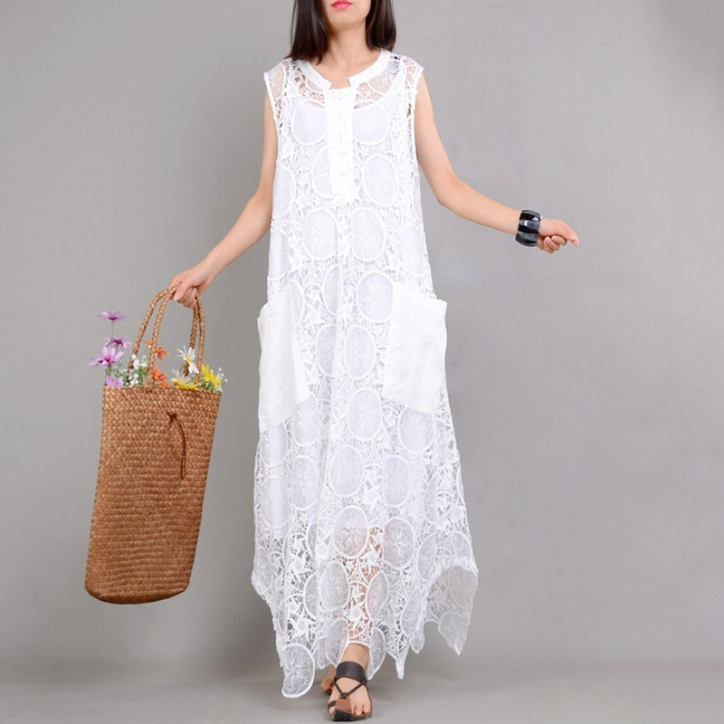 YaLee New Fashion 2019 Spring Summer Round Collar Embroidery Hollow Irregular Dress Inner Sling Two