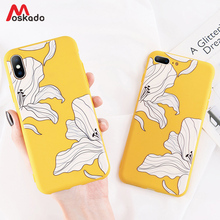 Moskado Case For iphone 8 7 6 6s Plus X XS Max Cartoon Fashion Chic Flower Yellow Fresh Cover For iphone 5 5s SE Soft TPU Cover moskado case for iphone 8 7 6 6s plus x xs max cartoon fashion chic flower yellow fresh cover for iphone 5 5s se soft tpu cover