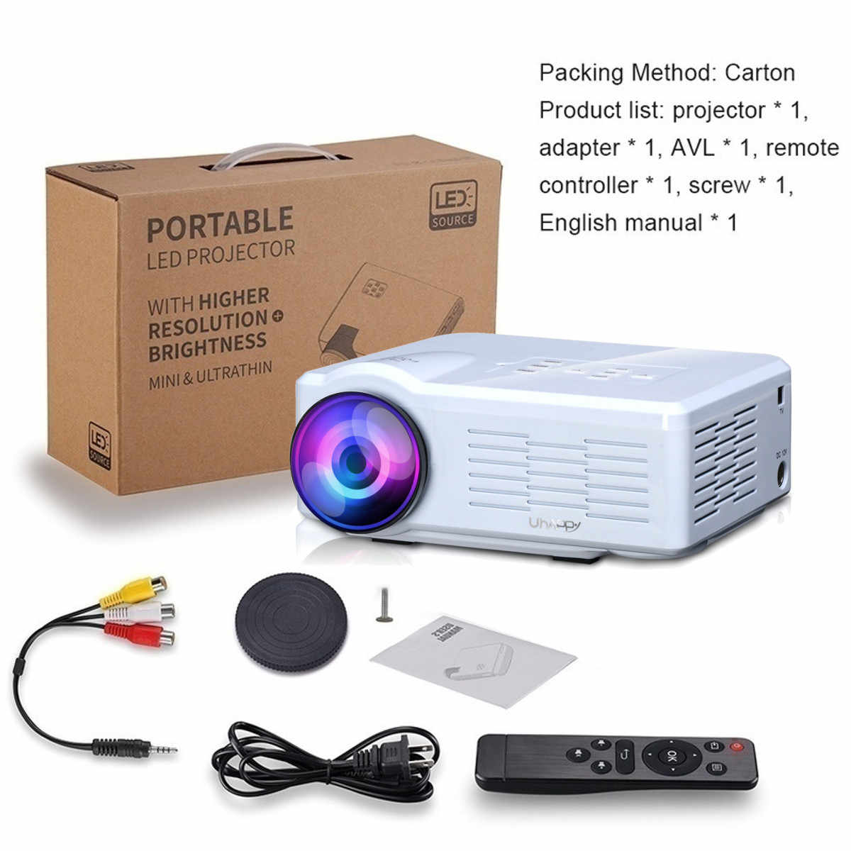 Проектор U35 светодиодный мини-проектор USB/SD/VGA/HDMI/AV светодиодный Портативный HD мультимедийный проектор для дома Кино