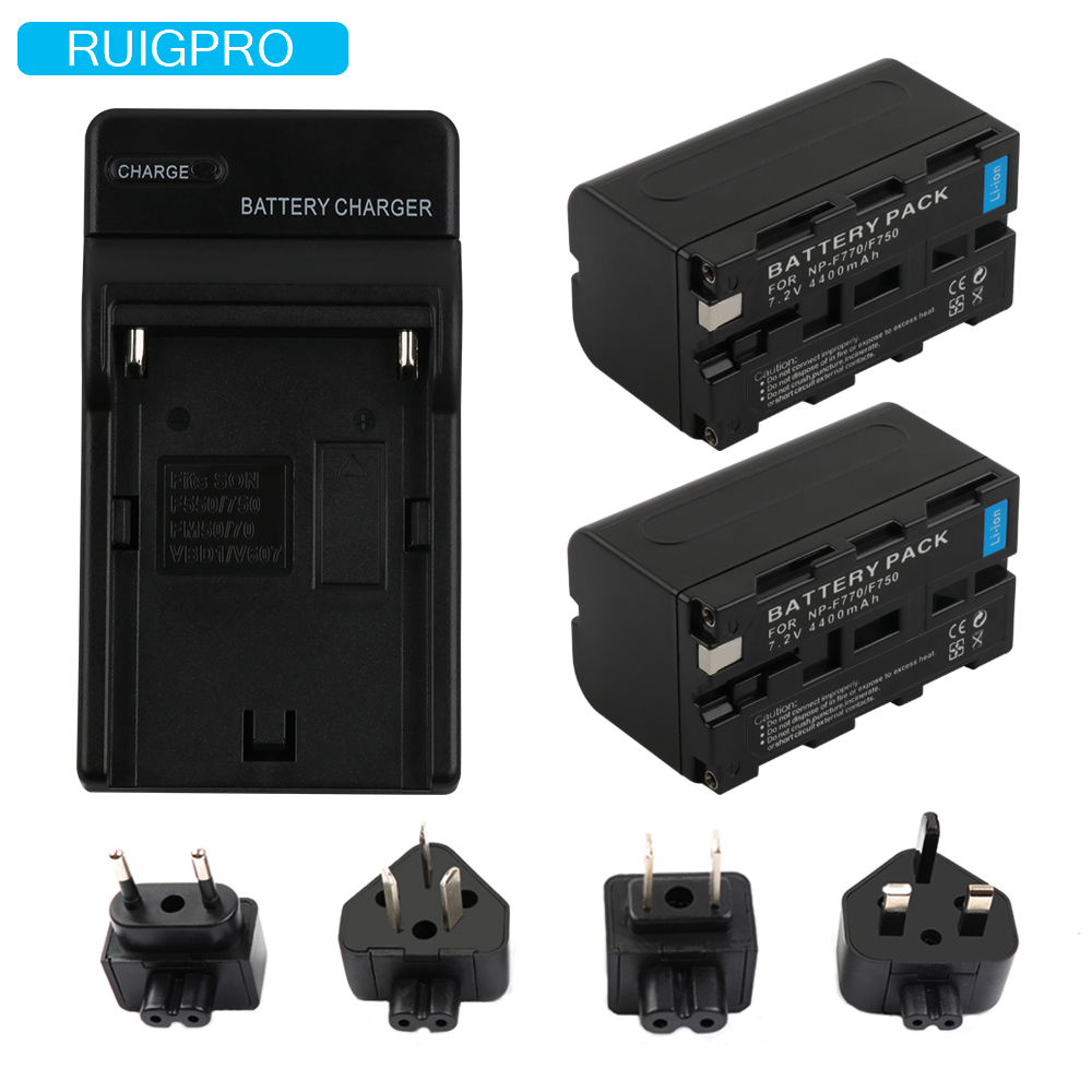 RuigPro NP-F770 NP-F750 NP F770 np f750 NPF770 750 Batteries + LCD USB Chargeur pour Sony NP-F550 NP-F770 NP-F750 F960 F970
