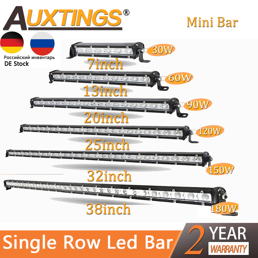"Auxtings Slim LED Light Bar Single Row 7"" 13"" 20"" 25"" 32"" 38'' inch 90W 120W 150W 180W For SUV 4X4 Off Road LED Work Light Lamp"