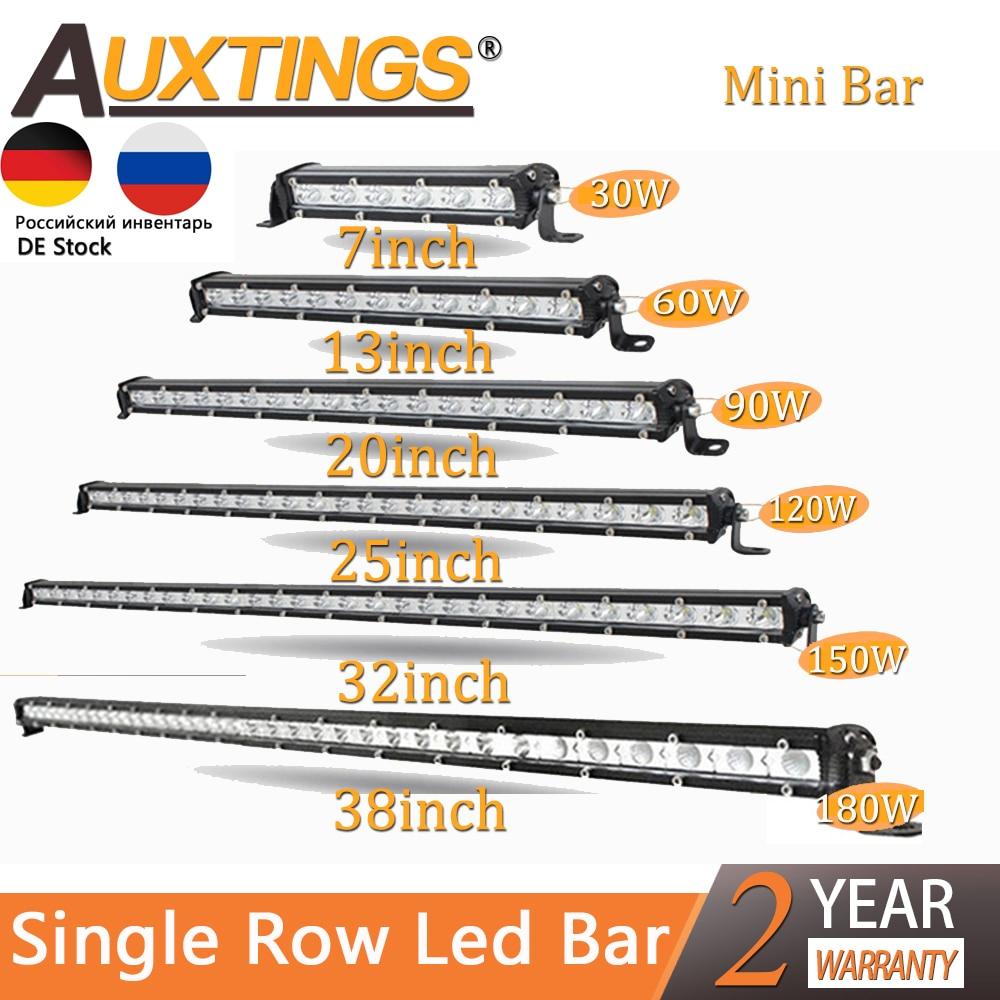 "Auxtings Slim LED Light Bar Single Row 7"" 13"" 20"" 25"" 32"" 38'' inch 90W 120W 150W 180W For SUV 4X4 Off Road LED Work Light Lamp"