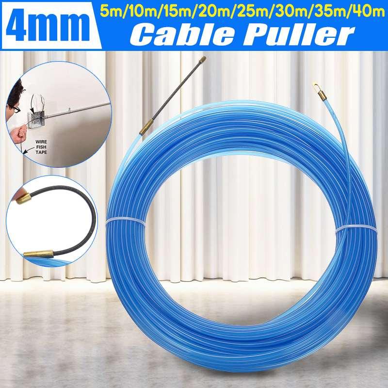 196ft Cable Fiberglass Fish Tape Reel Puller Nylon Metal Wire Conduit Ducting