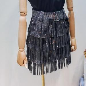 Image 4 - LANMREM 2020 קיץ חדש אופנה בגדי נשים חם קידוח גדילים Paillette חצאית עם חגורת מכירה לוהטת כל התאמה מכנסי YG97